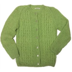 Vintage Mohair Blend Hand Knit Cardigan Sweater